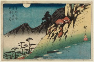 Reflected Moon on Paddy Fields at Sarashina, woodblock by Ando Hiroshige